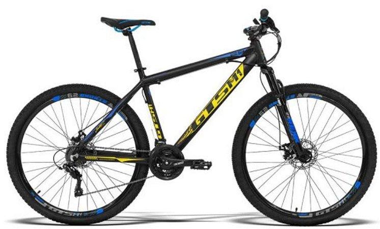 Bicicleta aro 29 GTSM1 quadro 15 Advanced PRO 24Velocidades Preta/Azul/Amarela