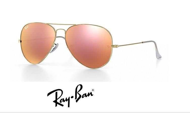 4e31000bcc Ray Ban Aviator Rosa Espelhado 3025 - Magu Outlet Importados