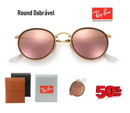 d91b4557df47f Ray Ban Round 3517 Dobrável - Magu Outlet Importados