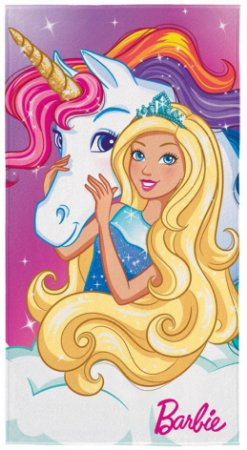 Toalha de Banho Aveludada Transfer Barbie Reinos Mágicos 75x140 - Lepper