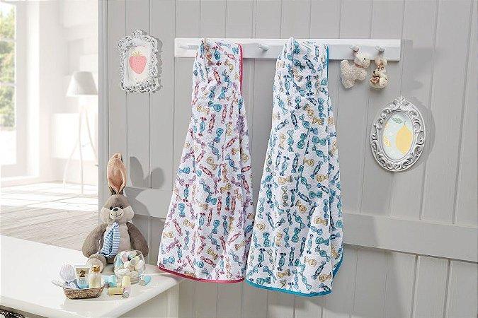 Toalha de Banho Com Capuz 68cm x 1,00m Infantil Menina Rosa Amarela Azul - Dianneli