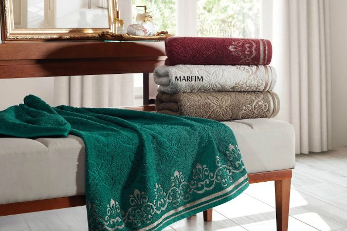 Toalha de Banhão Jacquard Luxury Marfim 80x150 - Dianneli