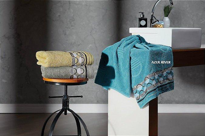 Toalha de Rosto Jacquard Chronos Azul River 50x70 - Dianneli