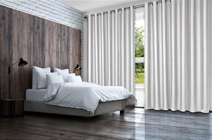 Cortina Blackout de Tecido Liso 400x230 Branco - Izaltex