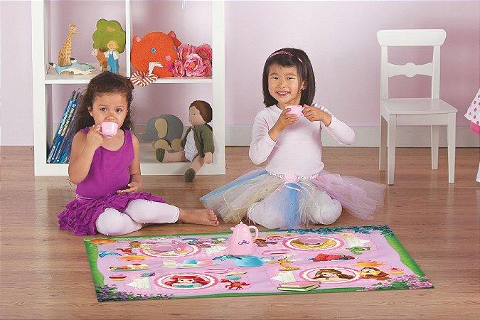 Tapete de Brincar Disney 66x100 Chá das Princesas + Brinquedo - Corttex