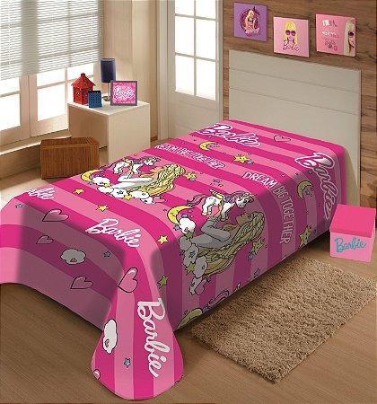 Manta Juvenil Soft Mattel Solteiro Barbie Grandes Sonhos - Jolitex