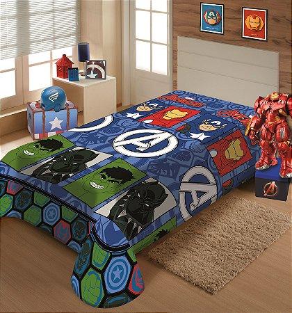 Manta Juvenil Soft Marvel Solteiro Avengers - Jolitex