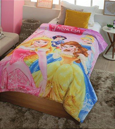 Cobertor Digital HD Com Sherpa Solteiro Disney Princesas Reino Encantado - Jolitex