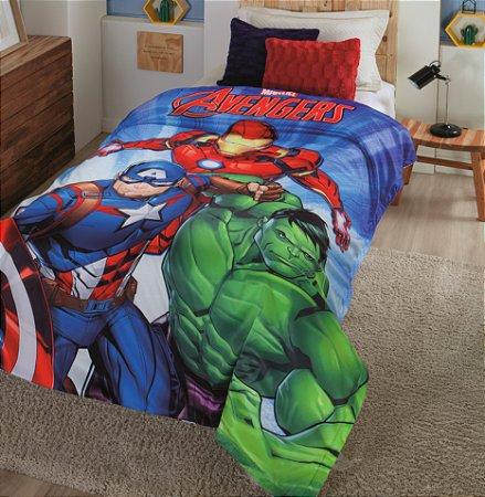 Cobertor Digital HD Com Sherpa Solteiro Marvel Avengers - Jolitex