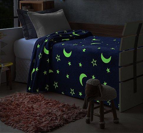 Manta Que Brilha No Escuro Mescla Azul e Branca Solteiro Lua Estrela - Jolitex