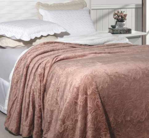 Cobertor Soft Flannel Com Sherpa Vermont Queen Rosê - Rozac