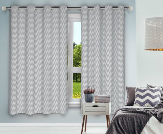 Cortina Blackout Eclipse PVC Estampado 280x230 Chevron - Izaltex