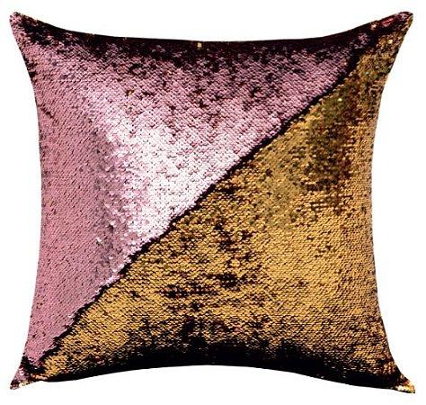 Capa de Almofada Vazia Paetê Wave 43x43 Rosê e Dourada - Rozac