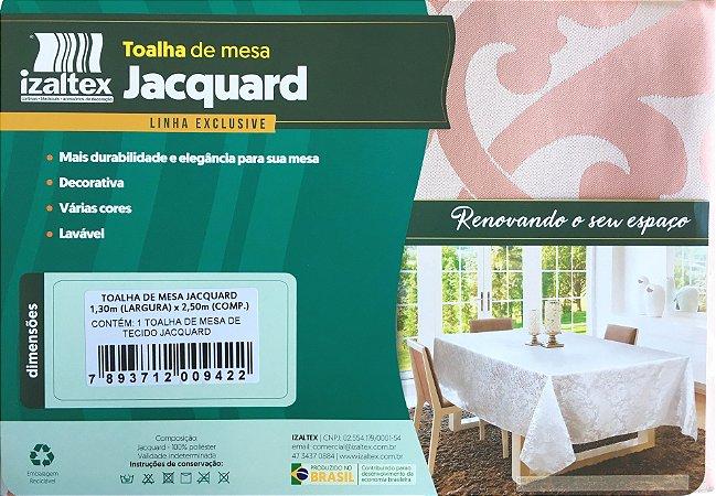 Toalha de Mesa Jacquard 8 Lugares 130x250 Zurique Rosê - Izaltex