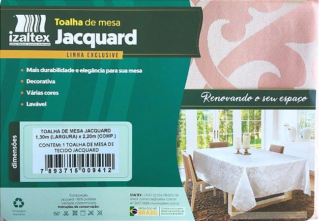 Toalha de Mesa Jacquard 6 Lugares 130x220 Zurique Rosê - Izaltex