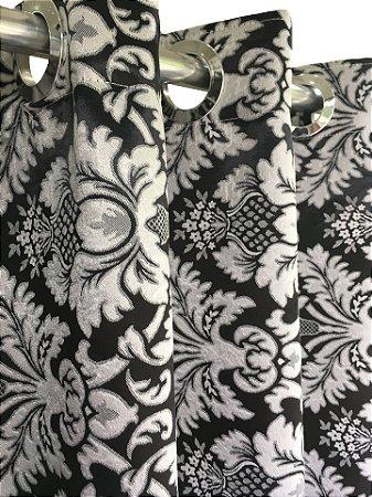 Cortina Blackout de Tecido Jacquard Elegance 400x250 Imperial Preta - Izaltex