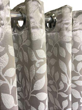 Cortina Blackout de Tecido Jacquard Elegance 400x230 Folhas Prata - Izaltex