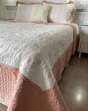 Kit Colcha Maison King 3 Peças Bordada Floral Branca e Rosê - Rozac