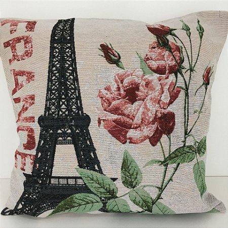 Capa de Almofada Vazia Rústica 45x45 Paris - Jolitex