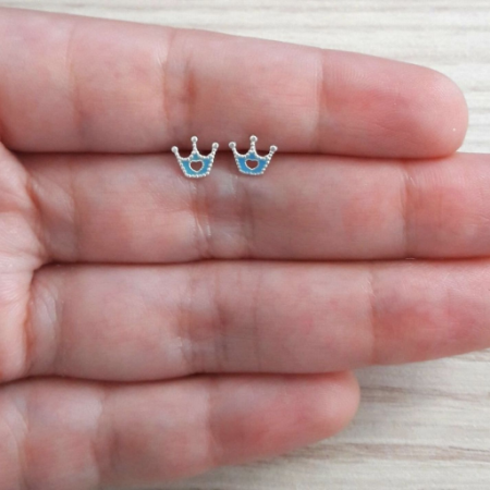 Brinco de Prata Coroinha com Detalhe Azul - MOLARA