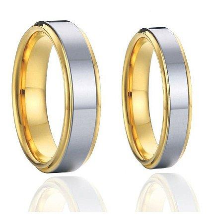 Par De Alianças Liga De Titânio Banhado Ouro 18k Casamento Noivado Namoro