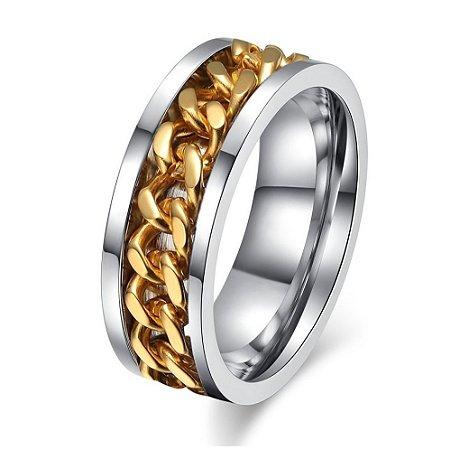 Anel Masculino Feminino Aço Inoxidável Corrente Giratória Ouro 18k 8 mm