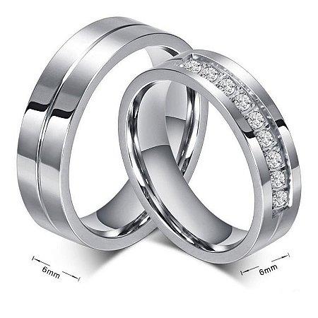 Par De Alianças 6mm Banhado A Ouro Branco 18k Com Zircônias Casamento Namoro Noivado