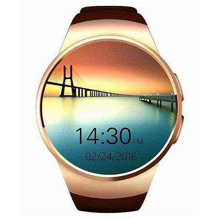Relógio Bluetooth Smartwatch Kw18 Monitor De Frequência Cardiaca Gold