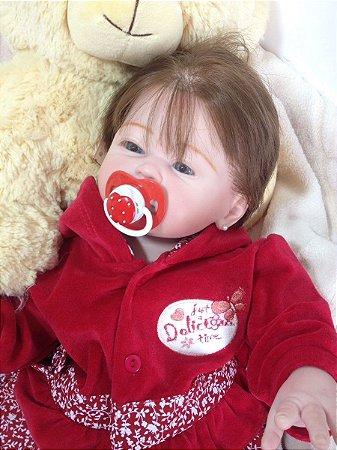 Bebê Reborn Corpo Todo De Vinil Silicone Carmela Realista Infantil Presente Doll Artesanato