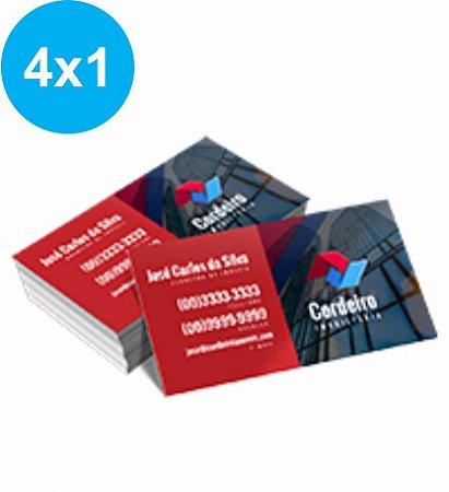 Cartão de Visita Couchê 300g Sem Verniz 9x5 - 4x1 - 100 UNID