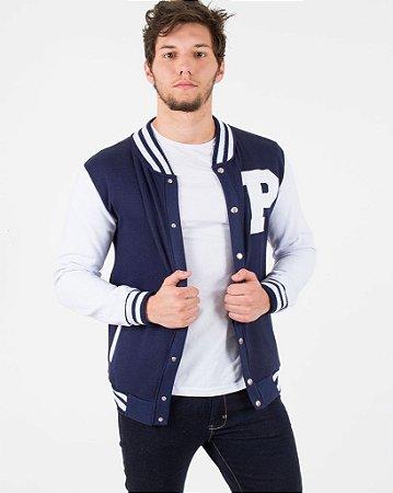 Jaqueta de Moletom Colegial Azul Marinho com Branco