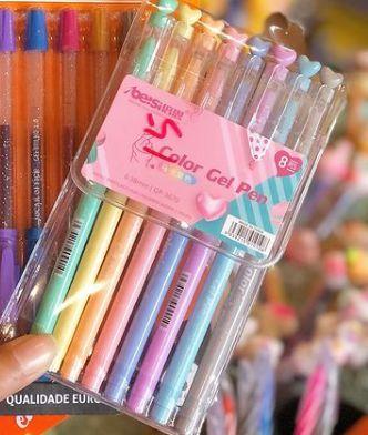 Caneta Gel color Pen 08 cores 0.4