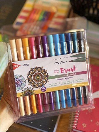 Caneta Sketch Brush Vibes Boho Chic Tris 12 cores