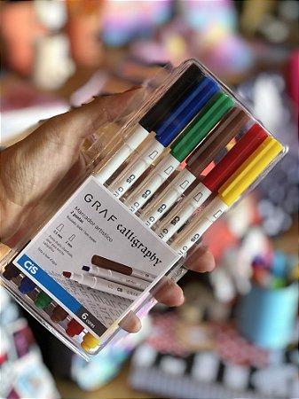 Marcador artístico Graf Calligraphy ponta dupla Cis 06 cores