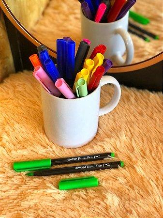 Caneta hidrográfica Brush Pen aquarelável New Pen verde ver-de-longe neon