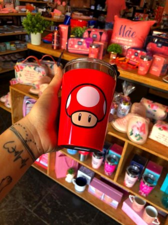 Copo viagem snap 300ml Mushroom red