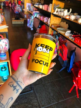 Copo viagem snap 300ml Snoopy Keep Focus