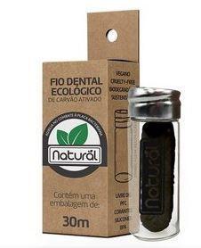 Fio Dental Ecológico de Carvão Ativado Orgânico Natural