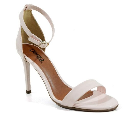 Sandália Feminina Salto Alto Fino Doma Shoes Verniz Creme