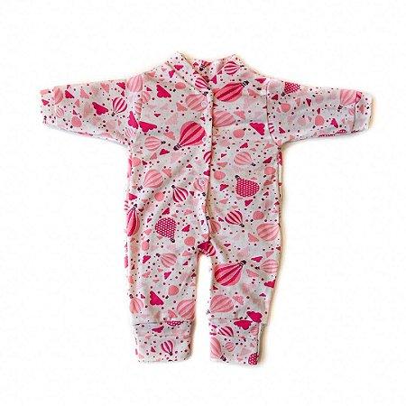 Macacão Bebê Suedine Rosa Balão