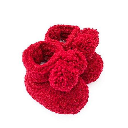 Sapatinho de tricô Vermelho com Pompom