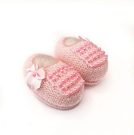 Sapatinho de tricô Rosa com Perolas