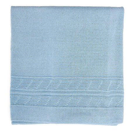 Manta de Trico Azul Clara Detales