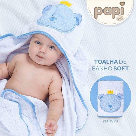 Toalha com capuz Papi Ursinho Azul