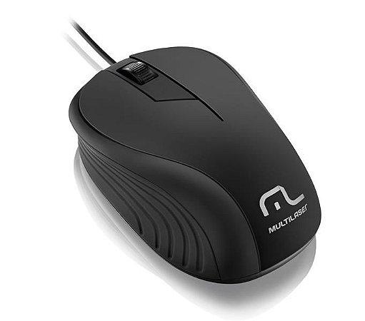 MOUSE EMBORRACHADO PRETO COM FIO USB - MO222