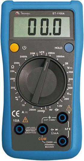 Multímetro Digital 3½D – Teste Bateria/Corrente DC/Teste de hFE - Minipa ET-1100A
