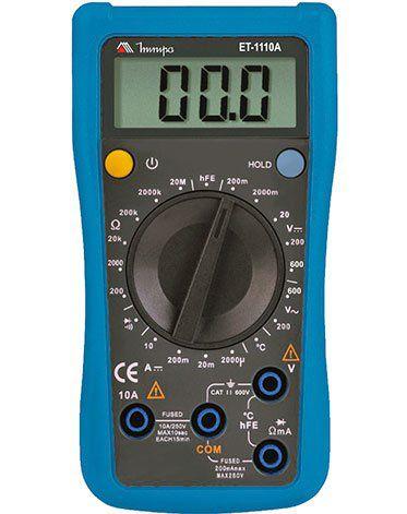 Multímetro Digital 3½D Teste Bateria/Corrente DC/Teste de hFE com Temperatura - Minipa ET-1110A