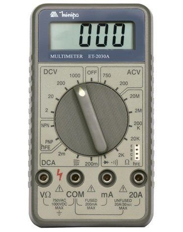 Multímetro Digital 3½D – 20Mohms – 20A - Minipa ET-2030A