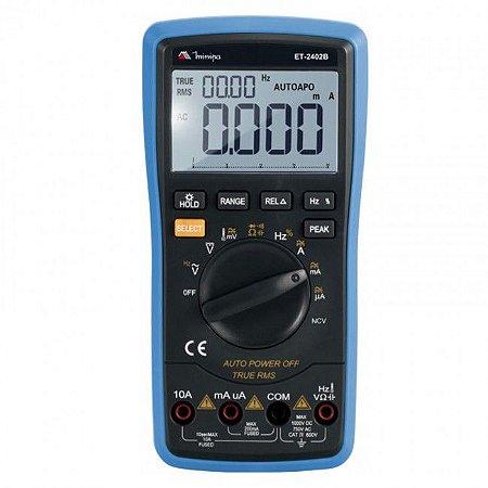 Multímetro Digital  Disp. LCD 20000 contagens / Iluminação /1000DCV/750ACV - Minipa ET-2402B