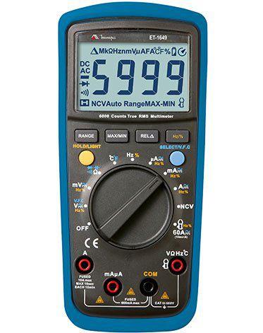 Multímetro Digital CATIII 3 5/6 Dig. / TRUE RMS /Teste Tensão sem contato / Temperatura - Minipa ET-1649